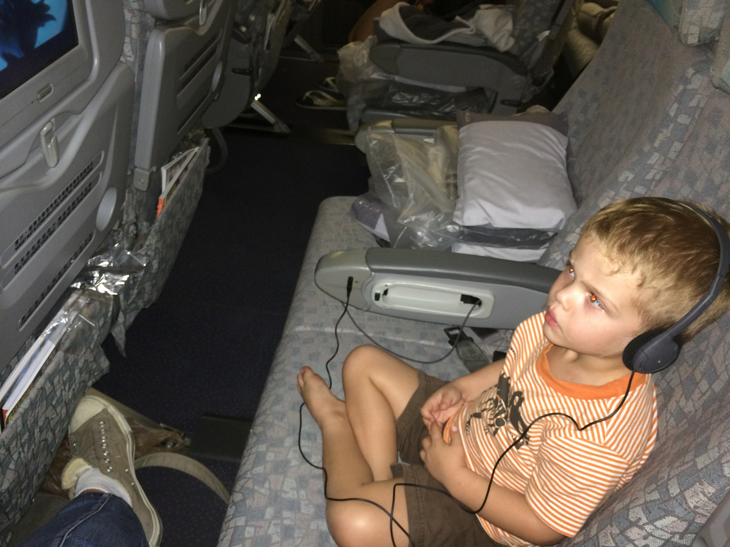 Caleb was pretty excited to watch Frozen on the plane. We were so fortunate to have a whole row to ourselves too!