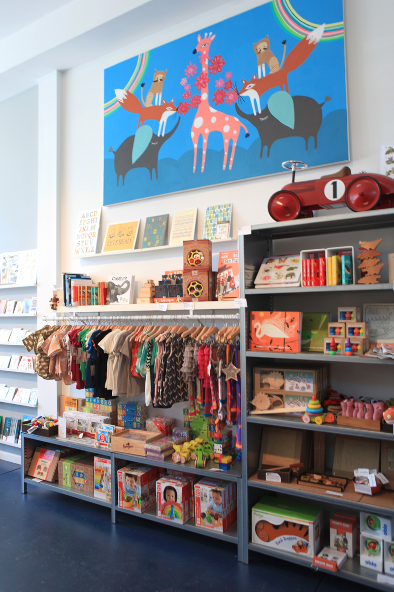 Nicely curated children's tees, toys and books.