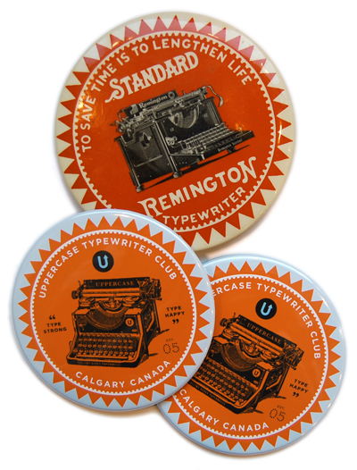 """""""Type Strong, Type Happy"""" The UPPERCASE Typewriter Club mirror is included in pledges of $75 and higher. Its design is modelled after an old advertising mirror by Remington. Mirrors were popular incentive items since they appealed to the lady typewriter."""