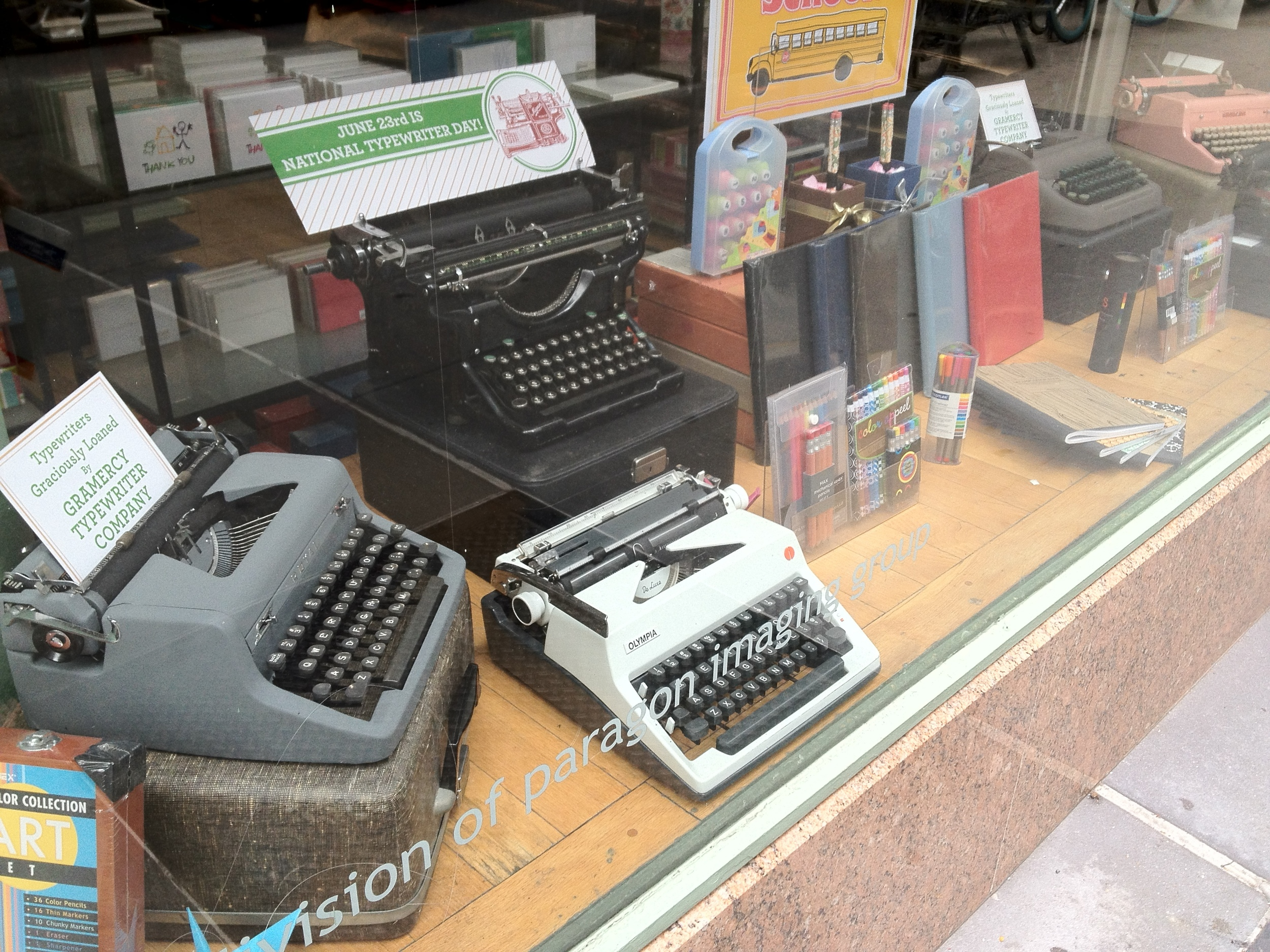 My brother Marc just sent in this photo of typewriters he spotted on a walk in NYC.