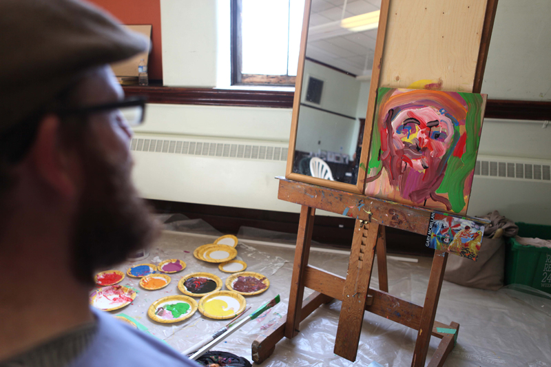 The resulting painting had a likeness of Glen, except for the angry eyebrows.