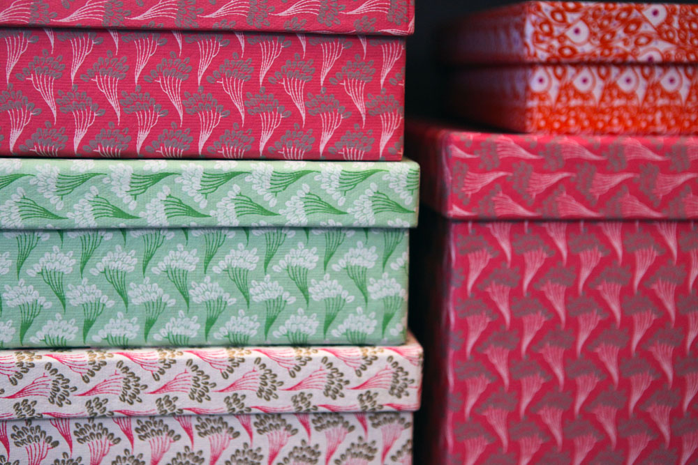 Lots of beautiful Rie Elise Larsen paper boxes that I would have loved to take home with me.