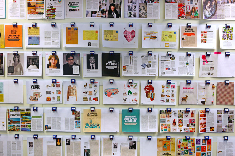 The planning wall... I've always wanted to implement something similar in my office. This a preview of a special holiday issue (in Dutch) inspired by snail mail.