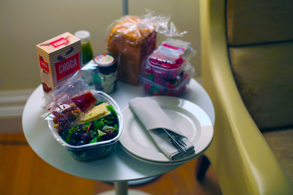 My own version of room service—salad, berries, bread and chocolate—brought home from the grocery store around the corner.