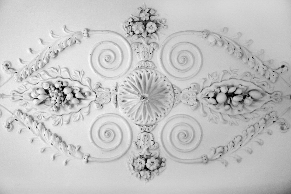 Exploring the halls and connections of the hotel led to some buildings with more ornamentation such as this on a ceiling overhead.