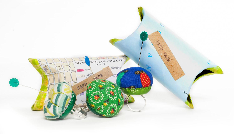 Make Shop Live random bottle cap pin cushion kit.