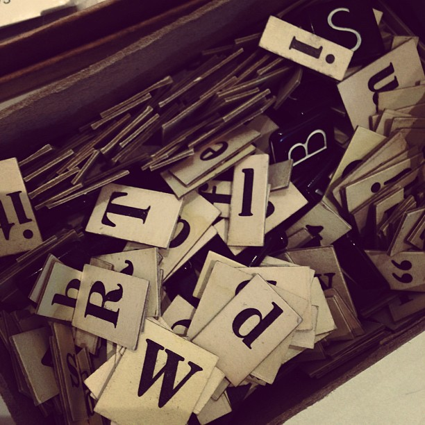 A little box of anagram paper letters.
