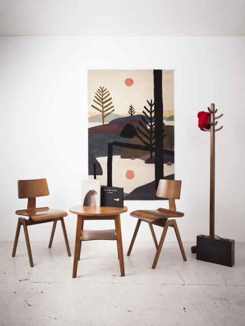 Finished rug with a design by Jon Klassen.