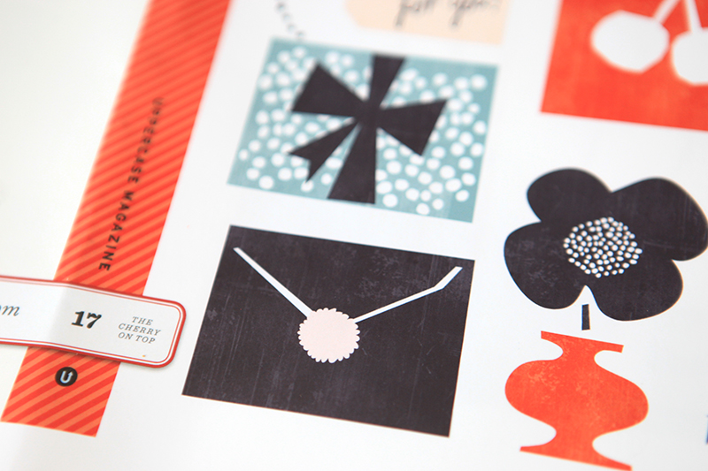 The diagonal motif is the repeating pattern throughout this issue. It was inspired by air mail stationery.