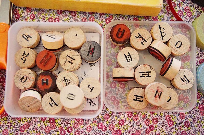I brought a selection of rubber stamps from home.