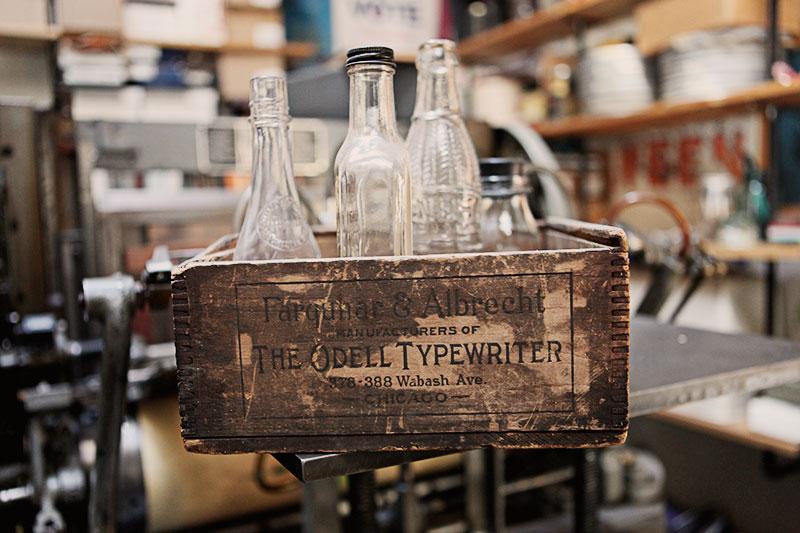 An Odell Typewriter wooden box.