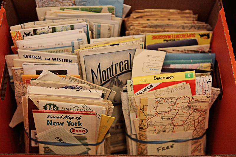 Lots and lots of old maps, great for decoupage and collage. I used to use them in making my Near & Far Eclectonotes.