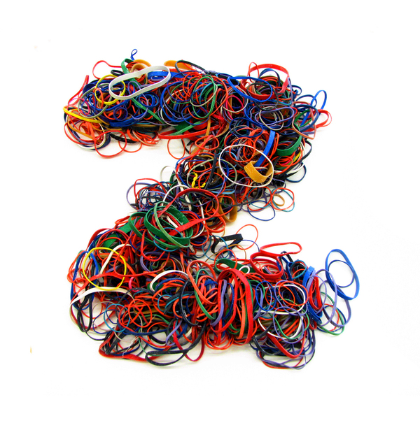 Erik Berger's Bandpile, made from rubber bands.