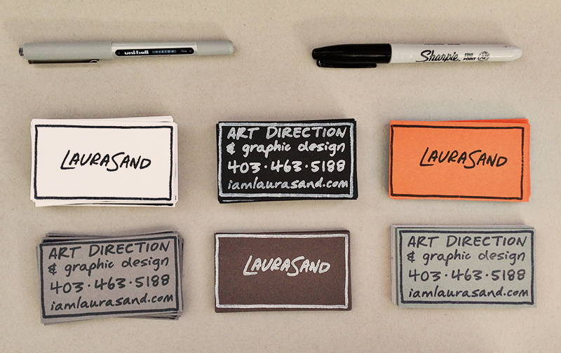 Laura's arrangement of business cards at the portfolio show.