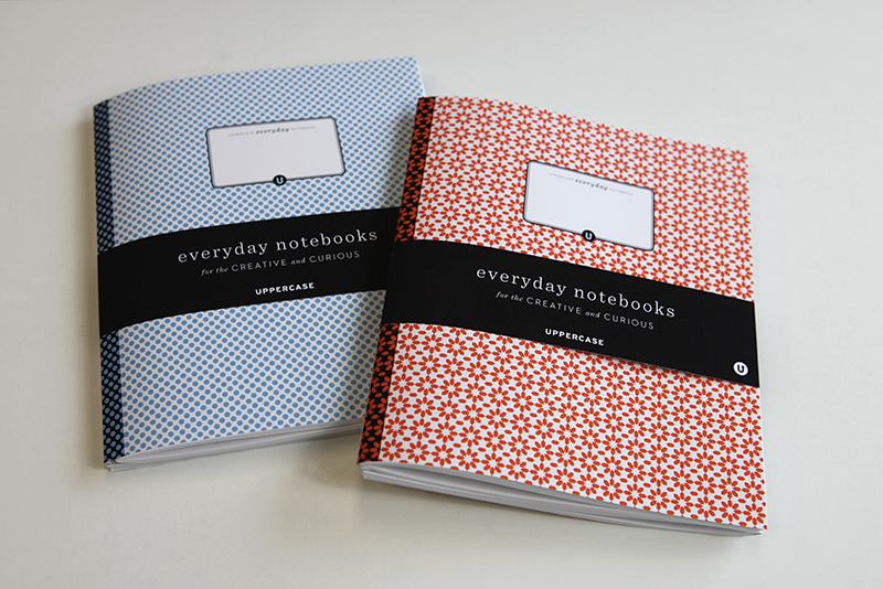 The notebook set mockups, cool and warm colours. The will be packaged with a black UPPERCASE hexagon pencil with white-stamped lettering.