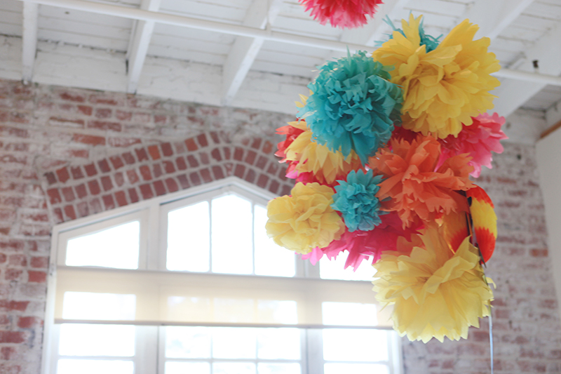 Their office has lots of fun handmade touches, like these tissue paper decorations.