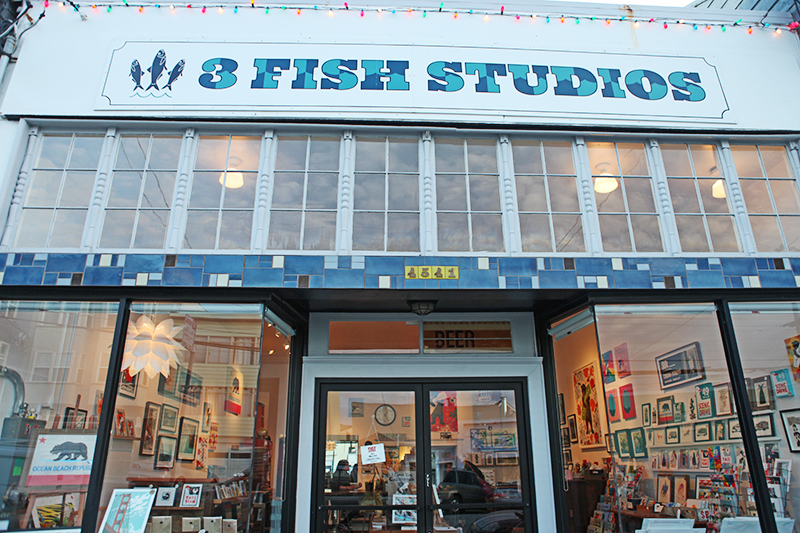 Located just steps from the beach, 3 Fish Studios is a welcoming storefront and working printmaking and painting studio.