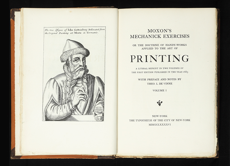 In 1896 De Vinne produced this line-by-line re-creation of the first printing manual in the English Language, Joseph Moxon's 1683Mechanick Exercises.