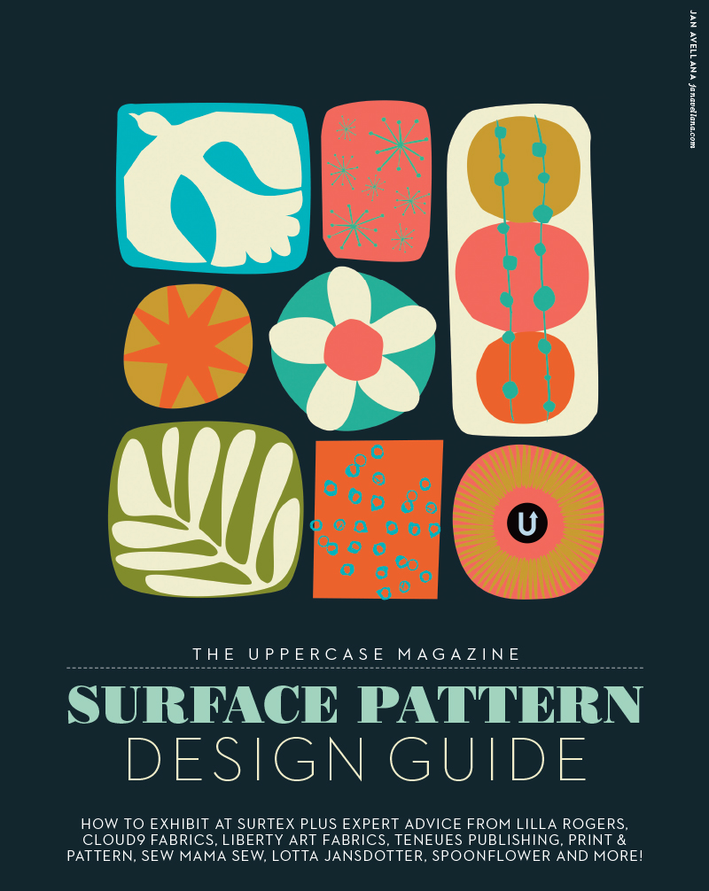 The UPPERCASE Magazine Surface Pattern Design Guide, first edition cover by  Jan Avellana  who went on to have her own fabric collection with Windham as a result.