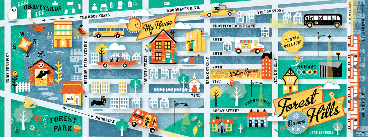 """Jane Sanders  Favourite Place:Wellfleet, Cape Cod, USA.""""This is a map of where my little wood frame house sits along with various elements that make up my sweet little neighbourhood of Queens, New York."""""""