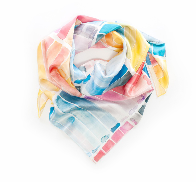 This silk scarf by Shana Frase pairs well with the  colour charts article  in this issue.