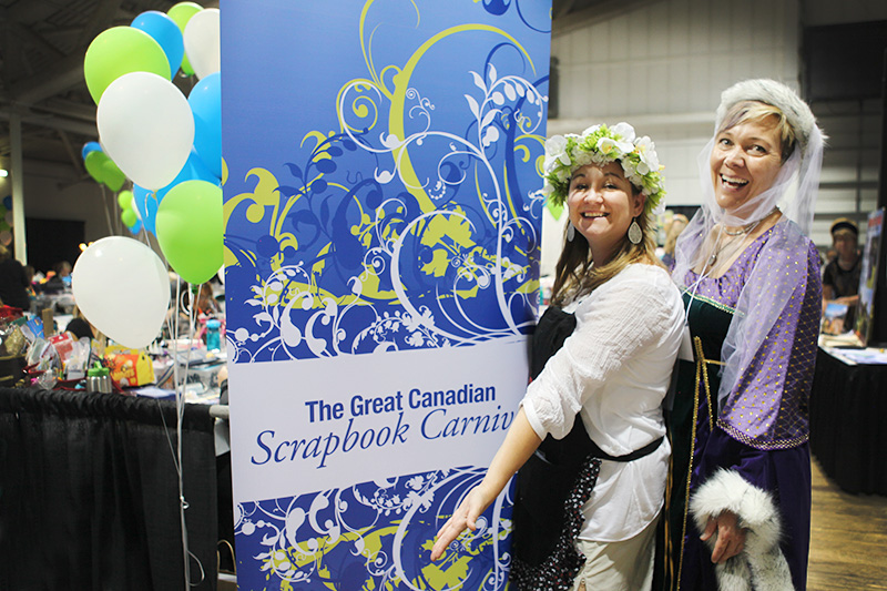 Jackie Ludlage , Canadian Scrapbooker co-founder and editor-in-chief strikes a pose with Katharina.