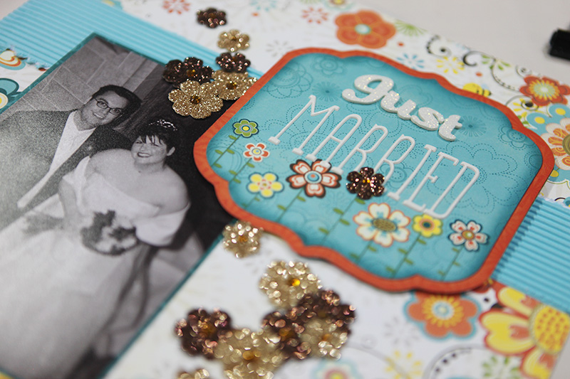 Crystal Reynolds , the art director of the magazine, is new to scrapbooking but has all the design experience. Here's a page in progress.