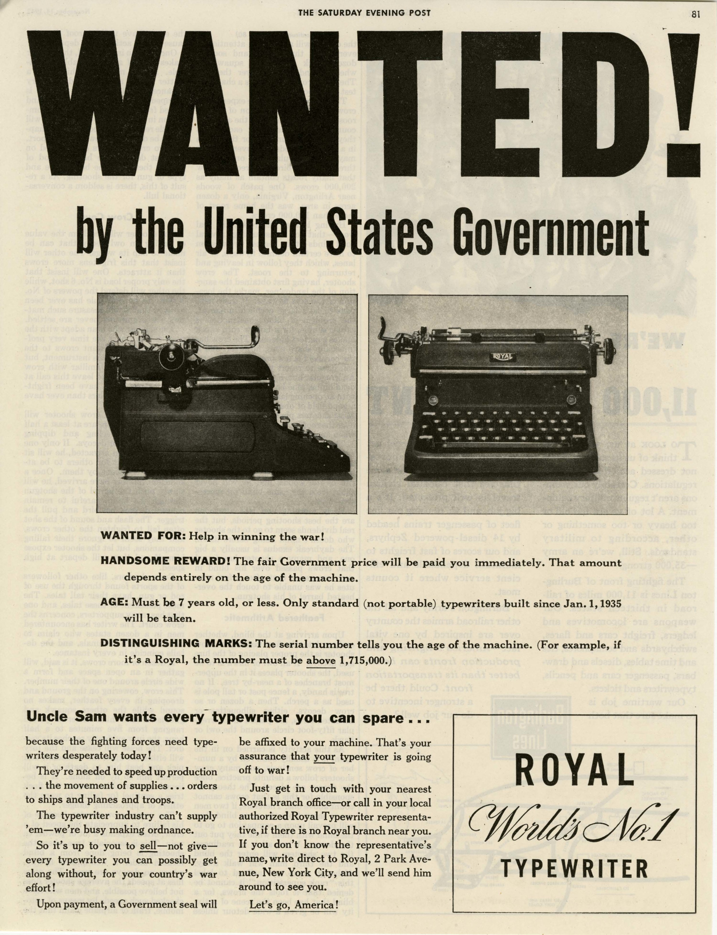 Uncle Sam wants every typewriter you can spare.
