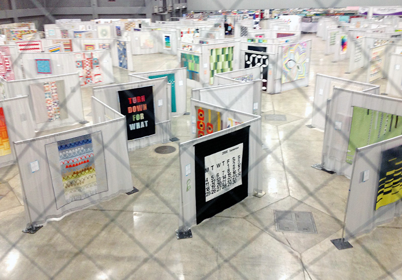 View from above of the quilt exhibition hall.