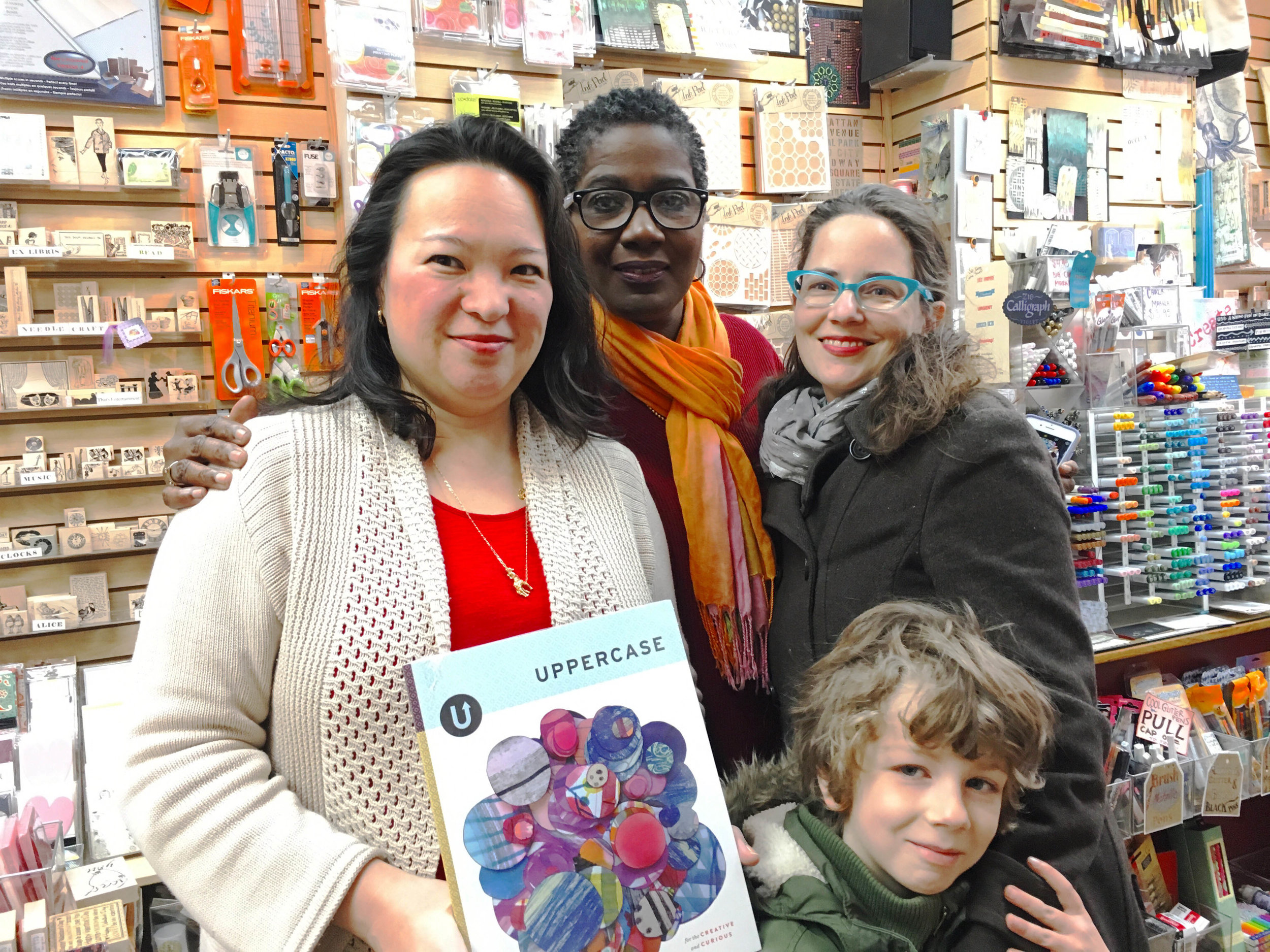 Anna Chiang is the owner of the store—she commutes an hour and a half each day to The Ink Pad. Now that's dedication! Patrice, in the middle, created some of the stamped card designs on display throughout The Ink Pad.
