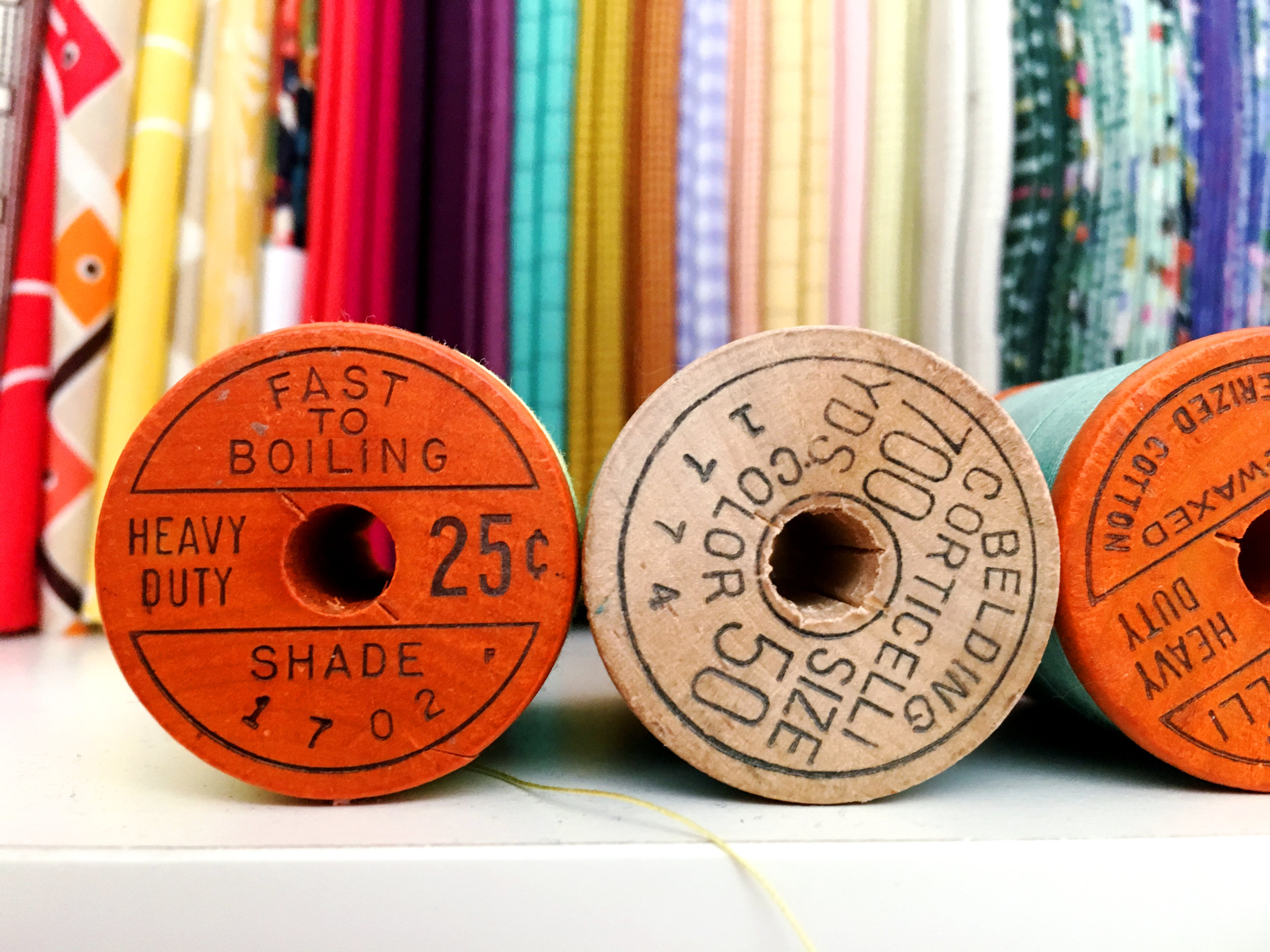 Vintage thread spools. They appeal to my 40-something-year-old self.