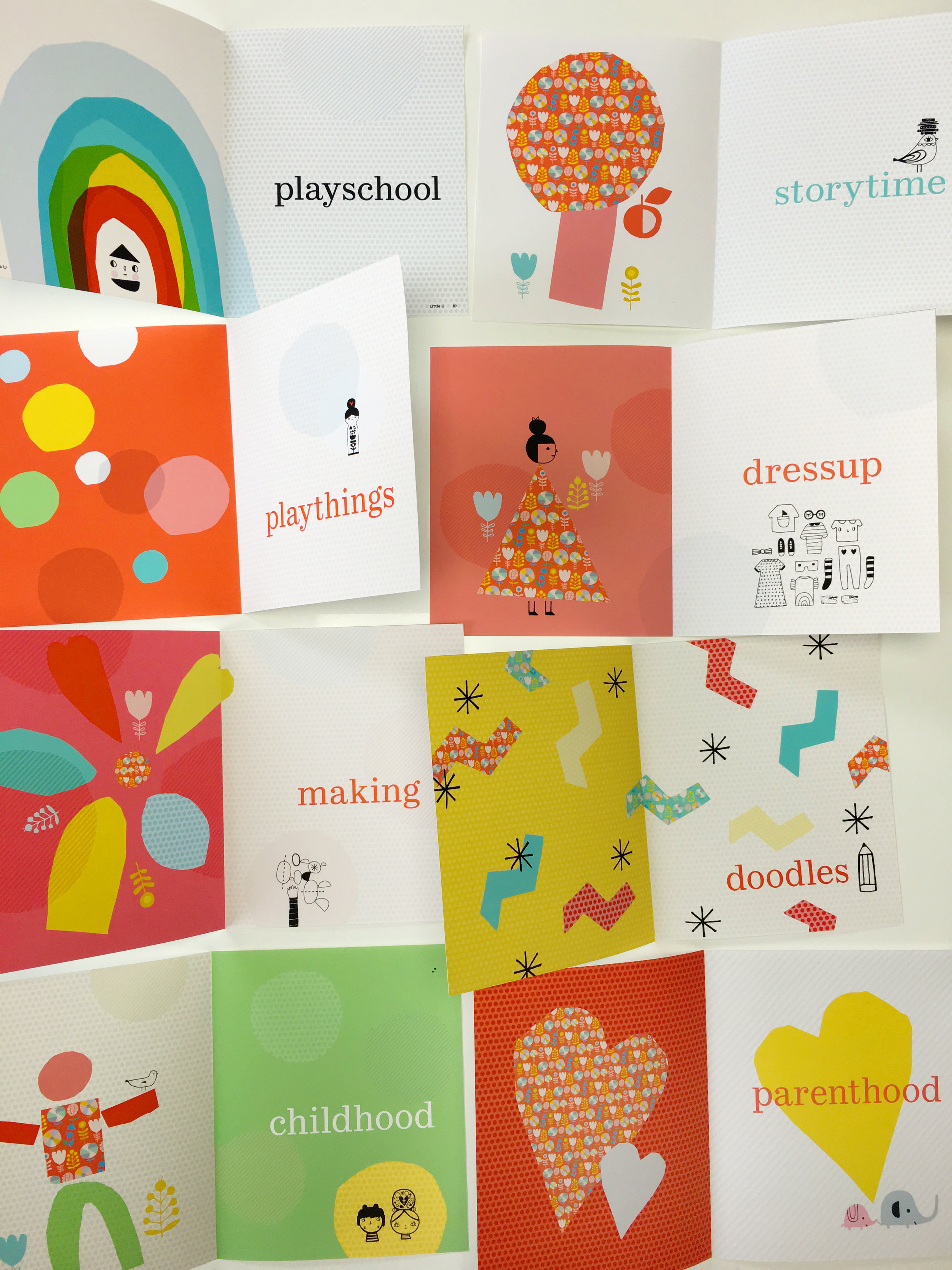 Here are the divider pages using Finley's cut paper shapes and Suzy Ultman's line drawings.