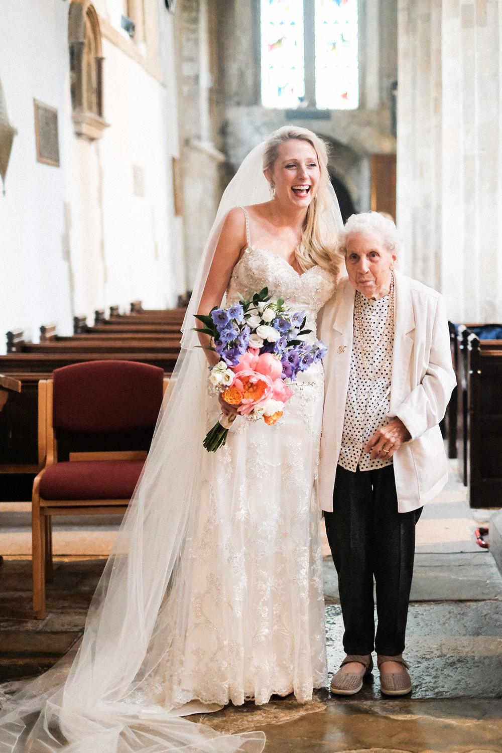 The bride (Gemma) and her nan, looking happy and very proud.