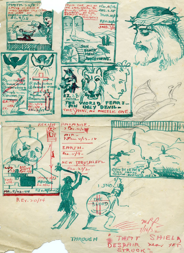 Sketches with Biblical Verses. Green ink on paper. Long papers. 1932.