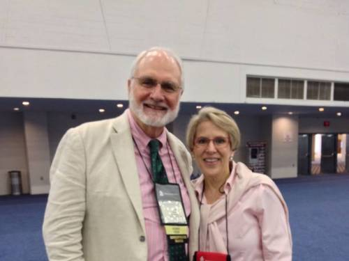 Dennis Hughes with the author, who were 'in the pink' at the 221st General Assembly (2014). (Photo provided)