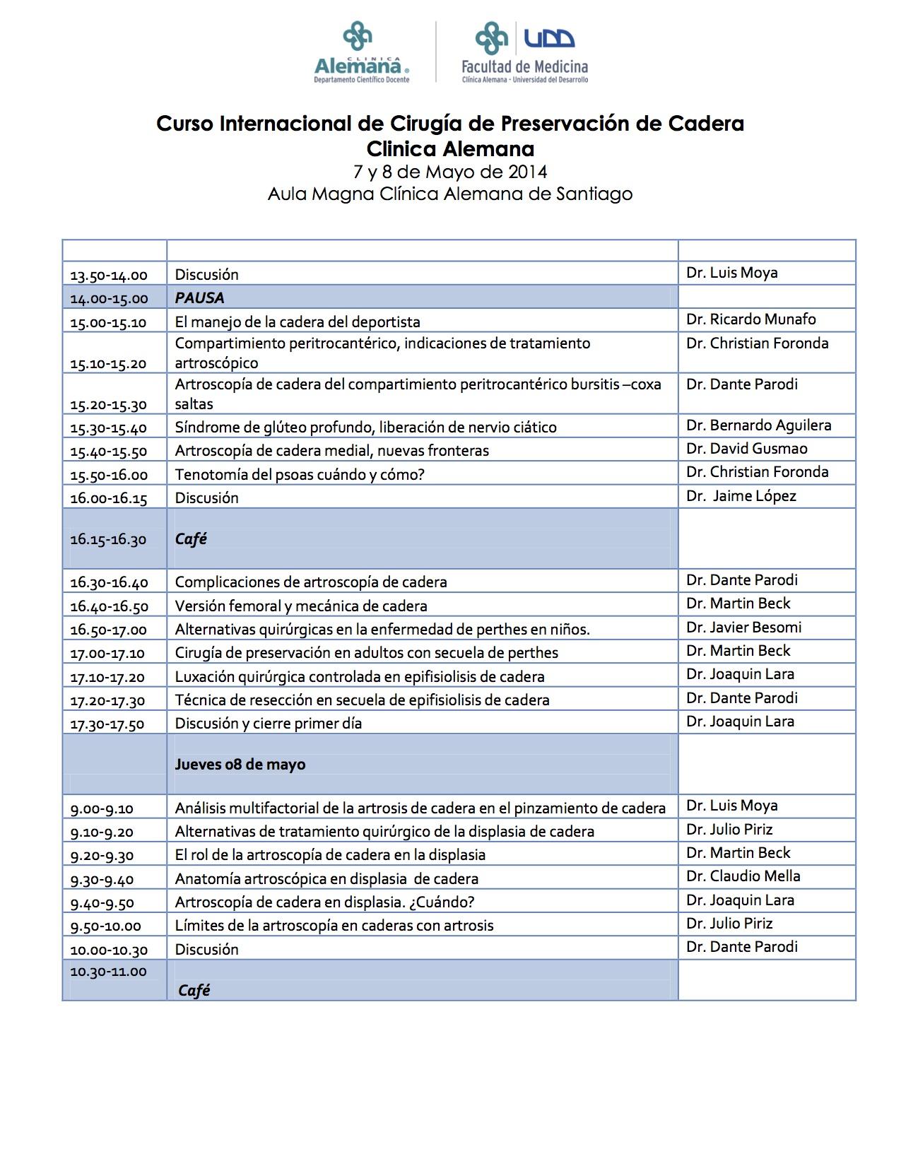 Curso Internacional de Cirugía de Preservación de Cadera 07 y 08 de mayo de 2014 Aula Magna Clínica Alemana de Santiago_2
