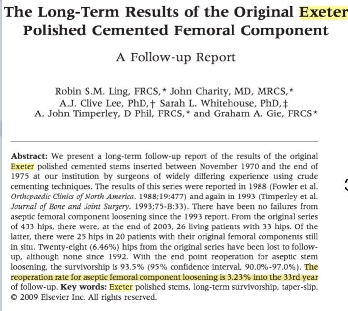 Estudo demonstrando durabilidade além dos 30 anos do implante de Exeter.