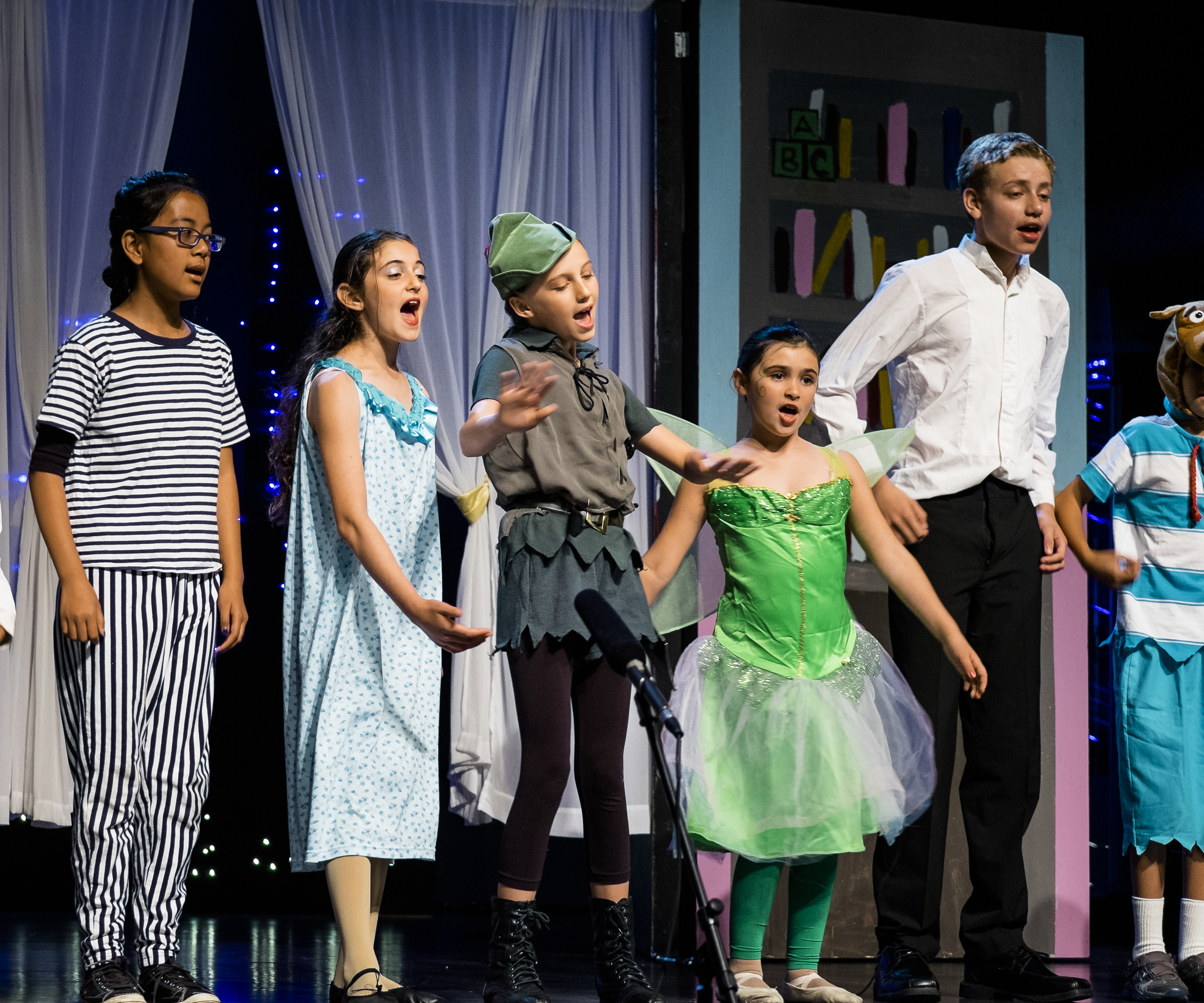 Really, the reason I bought it. My older daughter starring in Peter Pan.      1/80s,   f/2.8, 140mm.    ISO 800