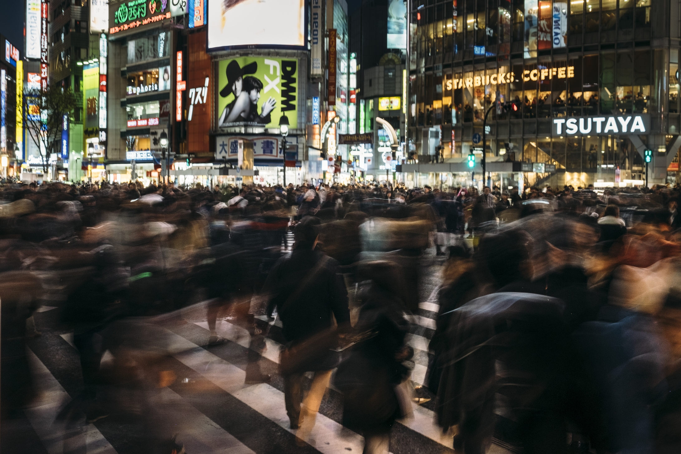 Shibuya Crossing, Tokyo. F/9, 1/2 second, ISO 200,   23mm. (No room for tripod, even if I did bring one! Did the best I could.)