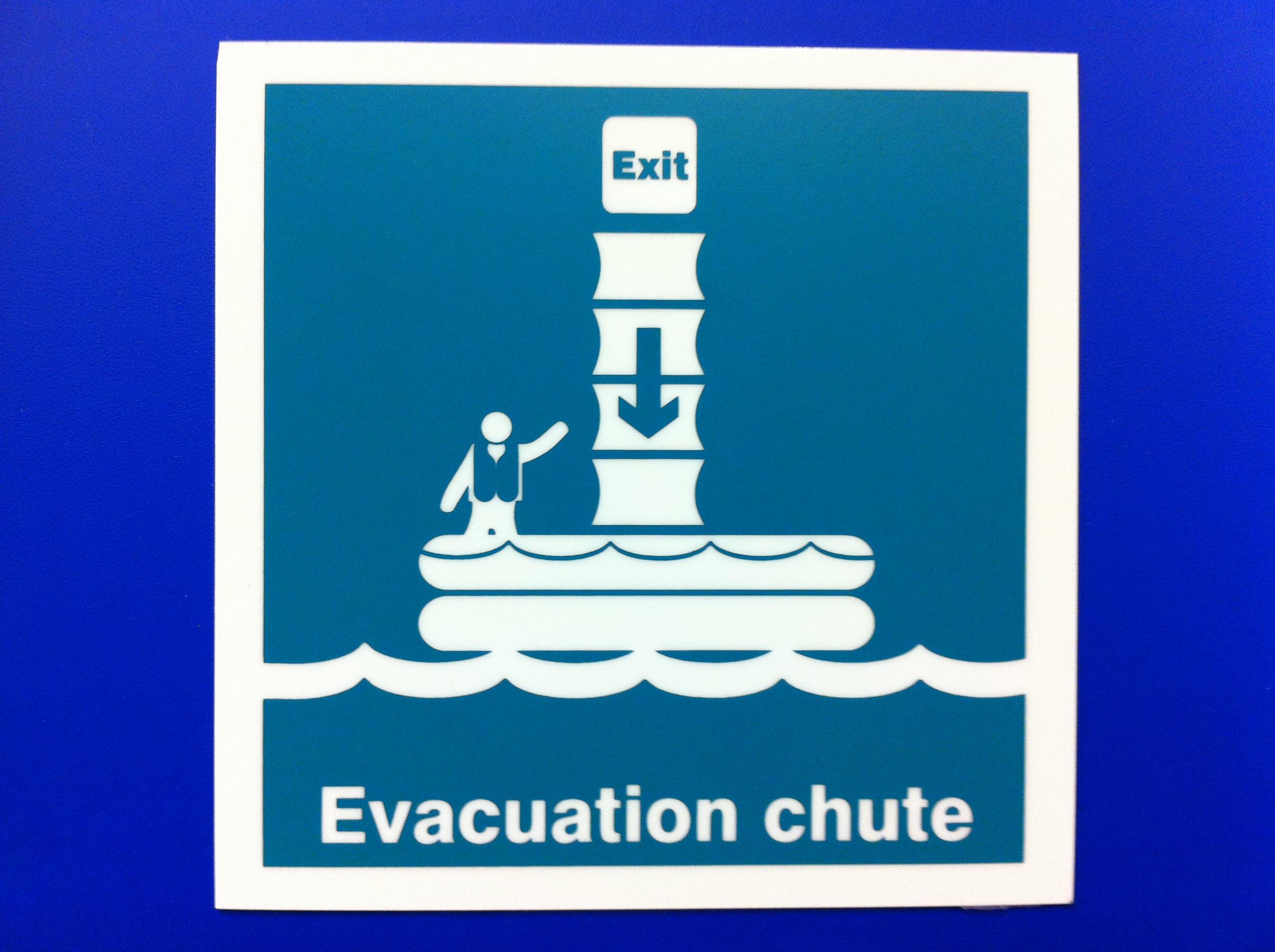 """In case of an emergency, ride the """"All new fun chute into the inflatable party pool!"""""""