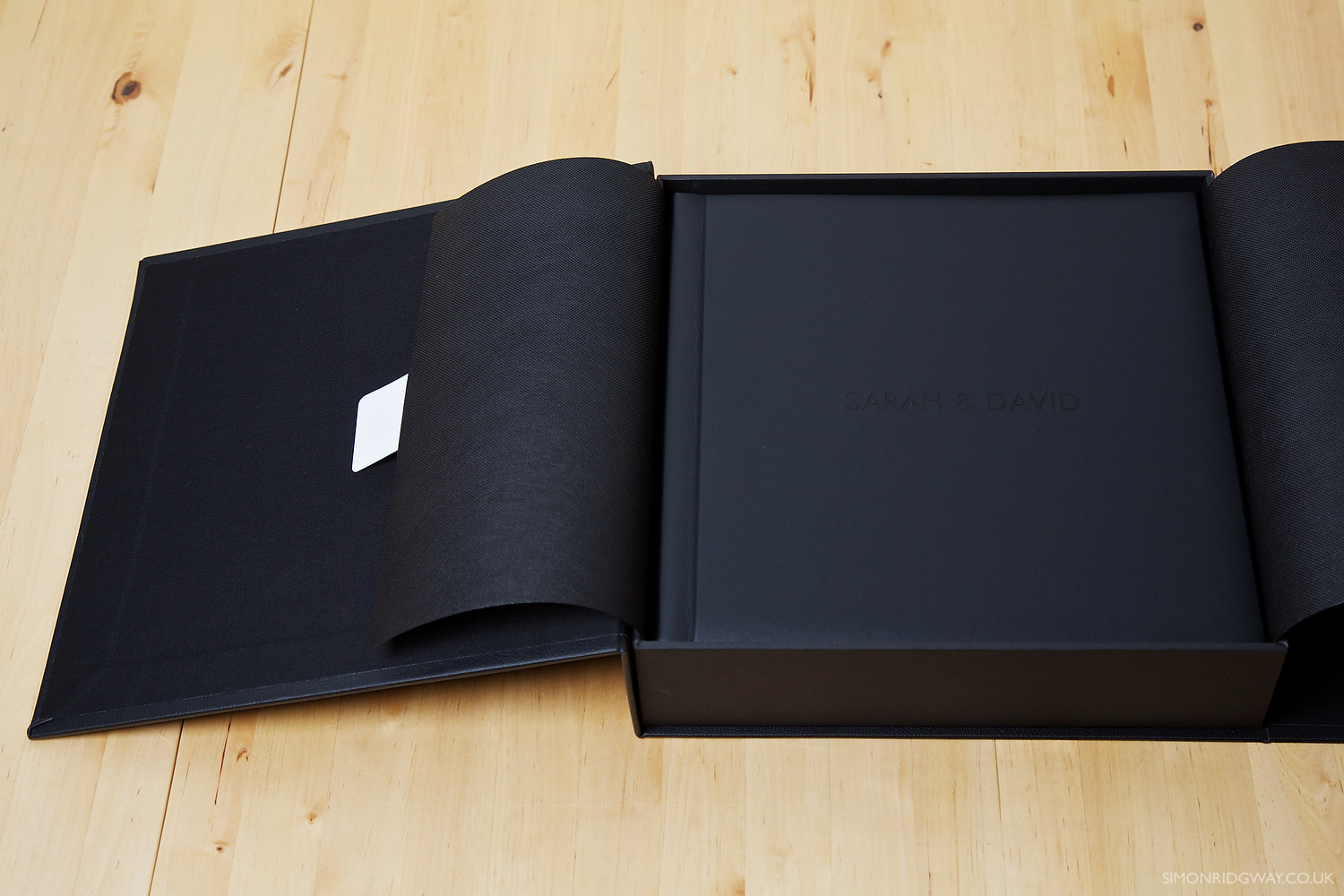 Presentation Box with Black Leather Album and Personalised Laser Engraving