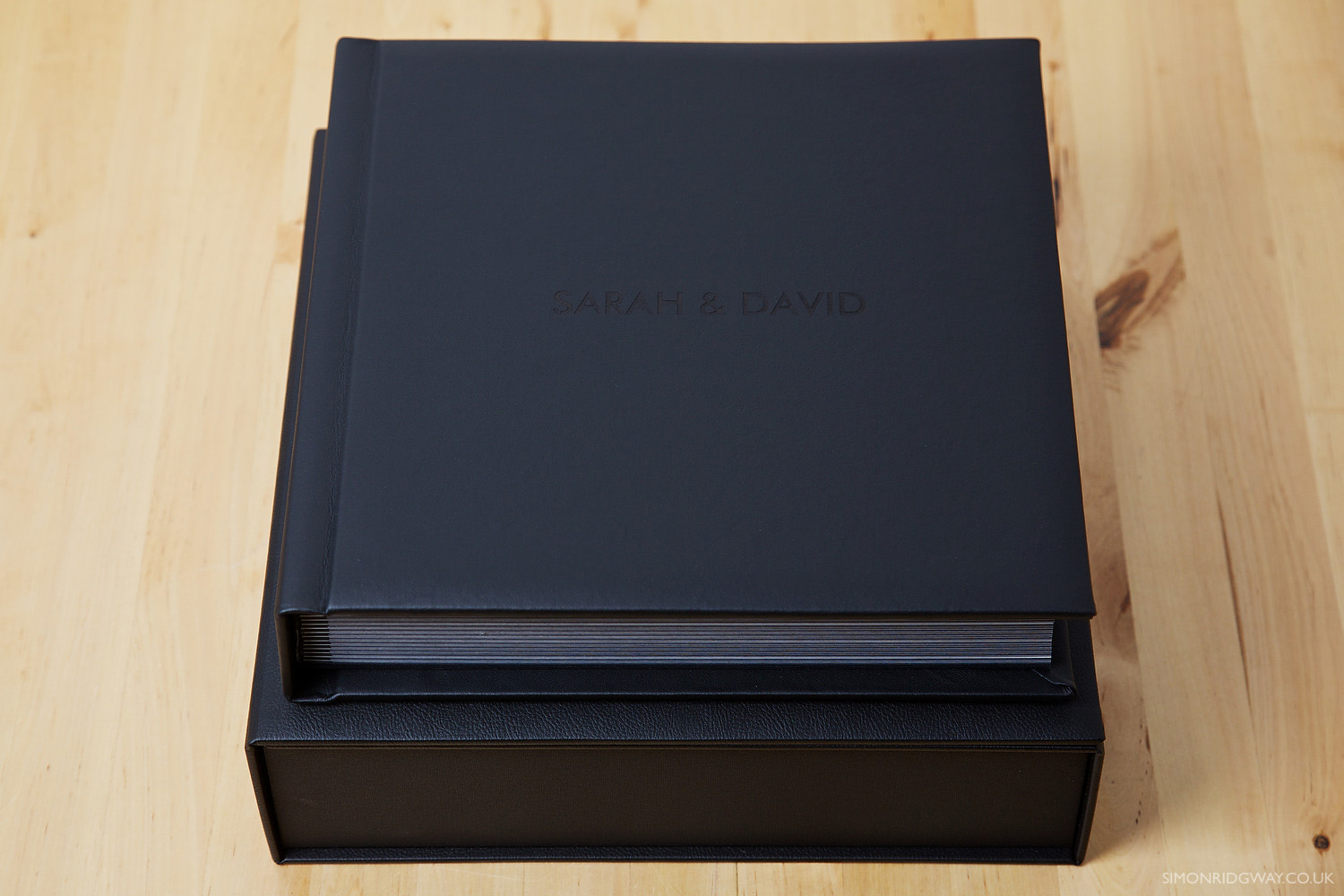 "12x12"" Black Leather Album with Personalised Laser Engraving"