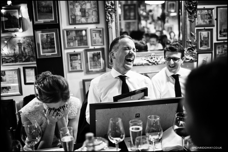 Wedding photography at Bully's restaurant, Cardiff