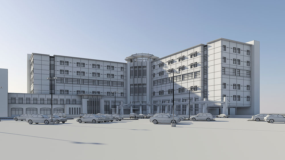 St. Francis Medical Center - Wireframe 3D Model