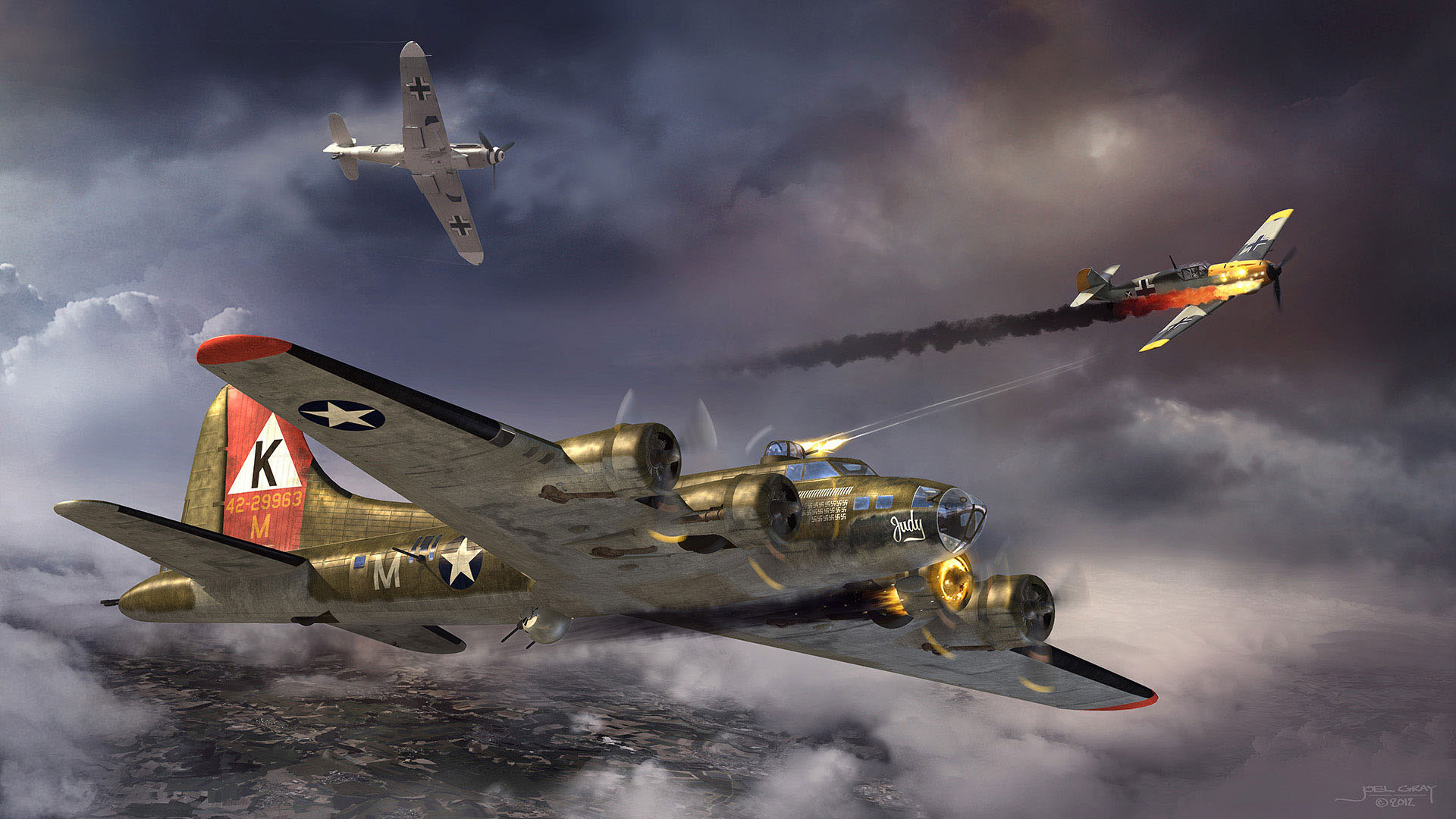 "Project: B-17 Bomber ""Judy"" (personal artwork) Contribution: Concept, art direction, lighting, texturing, rendering, matte painting"