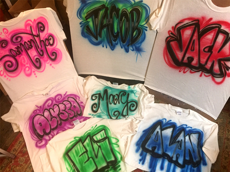 Tees with names in choice of writing style and favorite color!