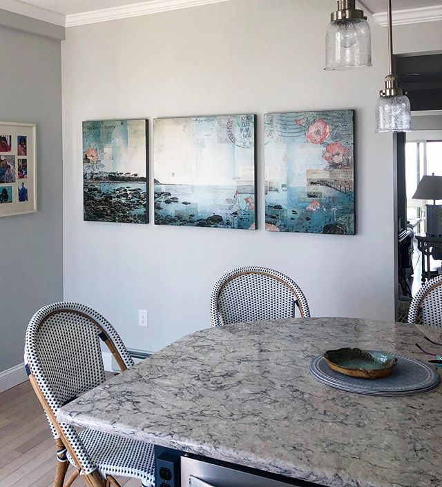 "Installed this custom 74""x36"" commissioned painting in the most beautiful beach home today."