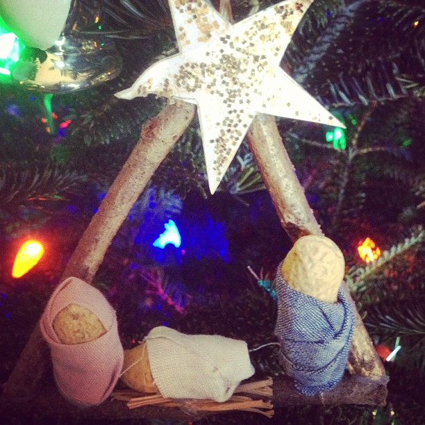 from our Christmas tree. my favorite ornament. peanut nativity...