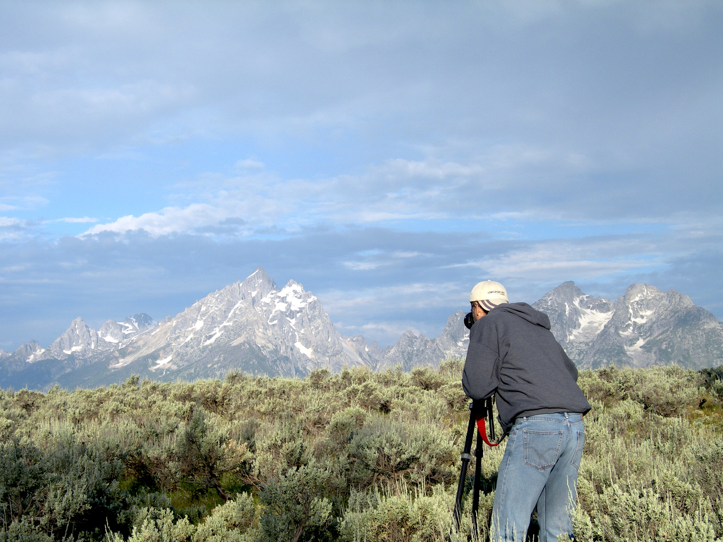 Lewin photographing the Tetons in 2012 - Photo by Anne Lewin