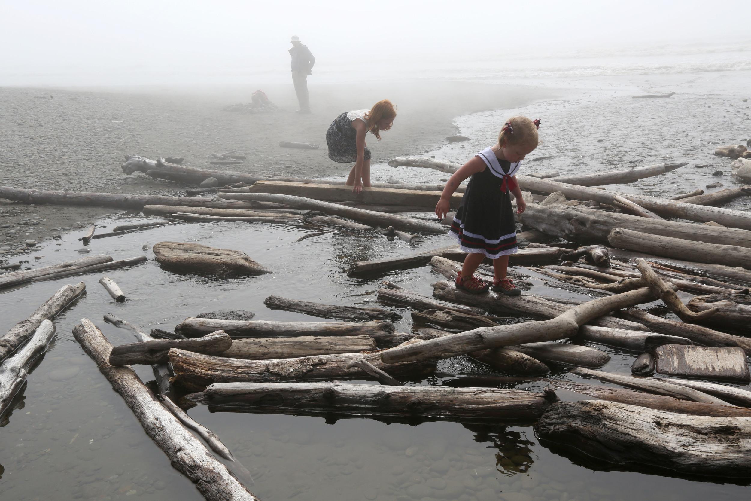 Children play at Ruby Beach in Washinton.